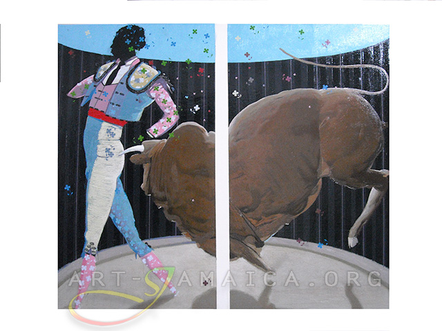 Painting by Philip Thomas - The Bull Fighter