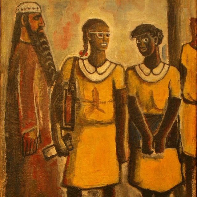 Carl Abraham Painting of school girls with prophet