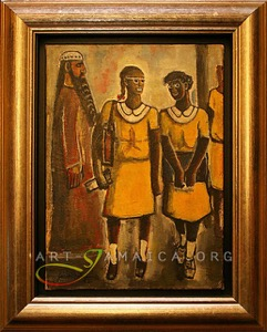 Painting depicting Jamaican School Girls, artwork by Carl Abrahams