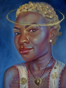 Female portrait with a halo by Alicia Brown