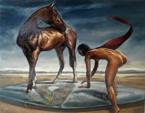 Horse and nude girl at the beach - painting by Khary Darby