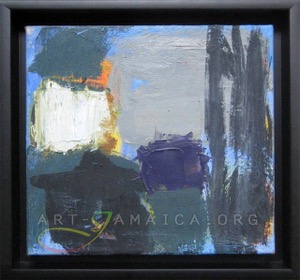 abstract painting in blue colours by Laura Hamilton