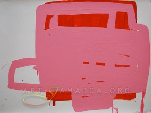 pink and red colours combined in an abstract composition by Jamaican artist Laura Hamilton