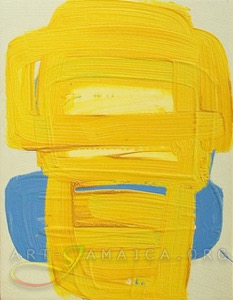 yellow and blue abstract composition by Jamaican artist Laura Hamilton