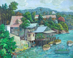 Jamaican houses at a river depicting fisher men by Albert Huie