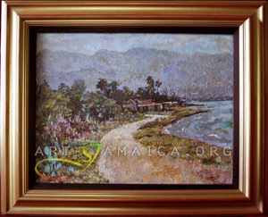 An Albert Huie painting depicting houses trees and the coast in Jamaica