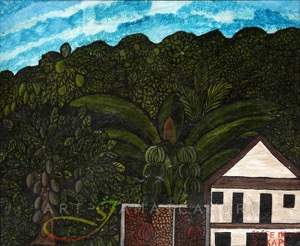 Kapa's painting of djungle and buildings in Jamaica
