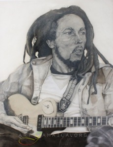 Bob Marley Oil painting depicting the Jamaican musician by Christopher Lawrence