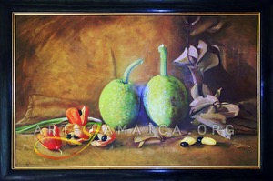 Exotic fruit still life on a wooden table including Jamaican Ackee and Bread-fruit