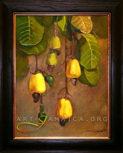 Jamaican fruit Cashew Meat hanging from a branch as an oil painting