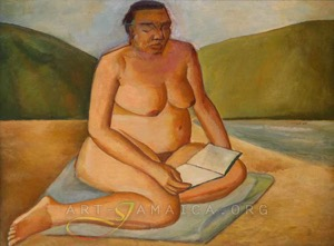 Nude woman sitting in Jamaican nature - painting by Whitney Miller