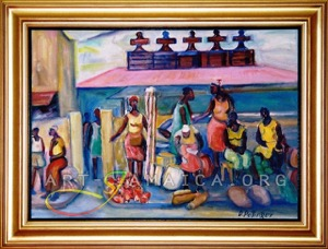 A market scene at a Jamaican town painted by artist D. Pottinger