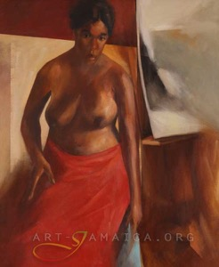 Half-naked woman with a red skirt depicted in an acrylic oil painting