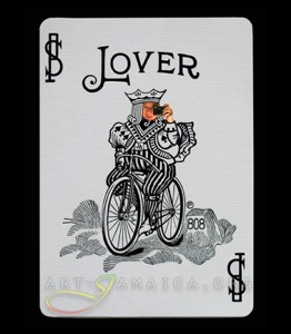 A playing card depicting a bicycle and the word Lover