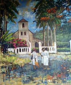 A church behind palm trees in a painting by Dennis Mabusha
