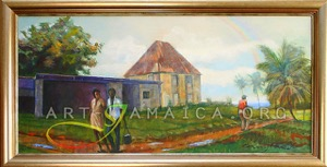 House, trees and landscape in Jamaica painted by Barrington Watson