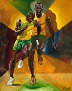 Two running men with Jamaican colour background as a vivid painting
