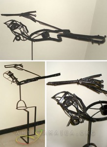 Three images of a metal sculpture depicting a violin player