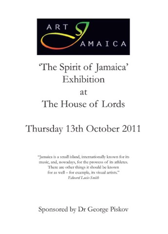 Catalogue &ldquo;The Spirit of Jamaica&rdquo;<br />Exhibition at The House of Lords, London, 13 October 2011